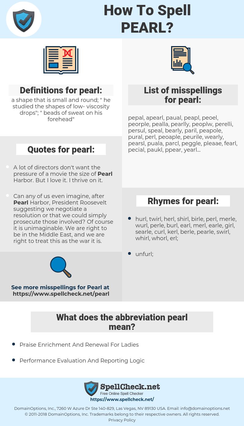 pearl, spellcheck pearl, how to spell pearl, how do you spell pearl, correct spelling for pearl
