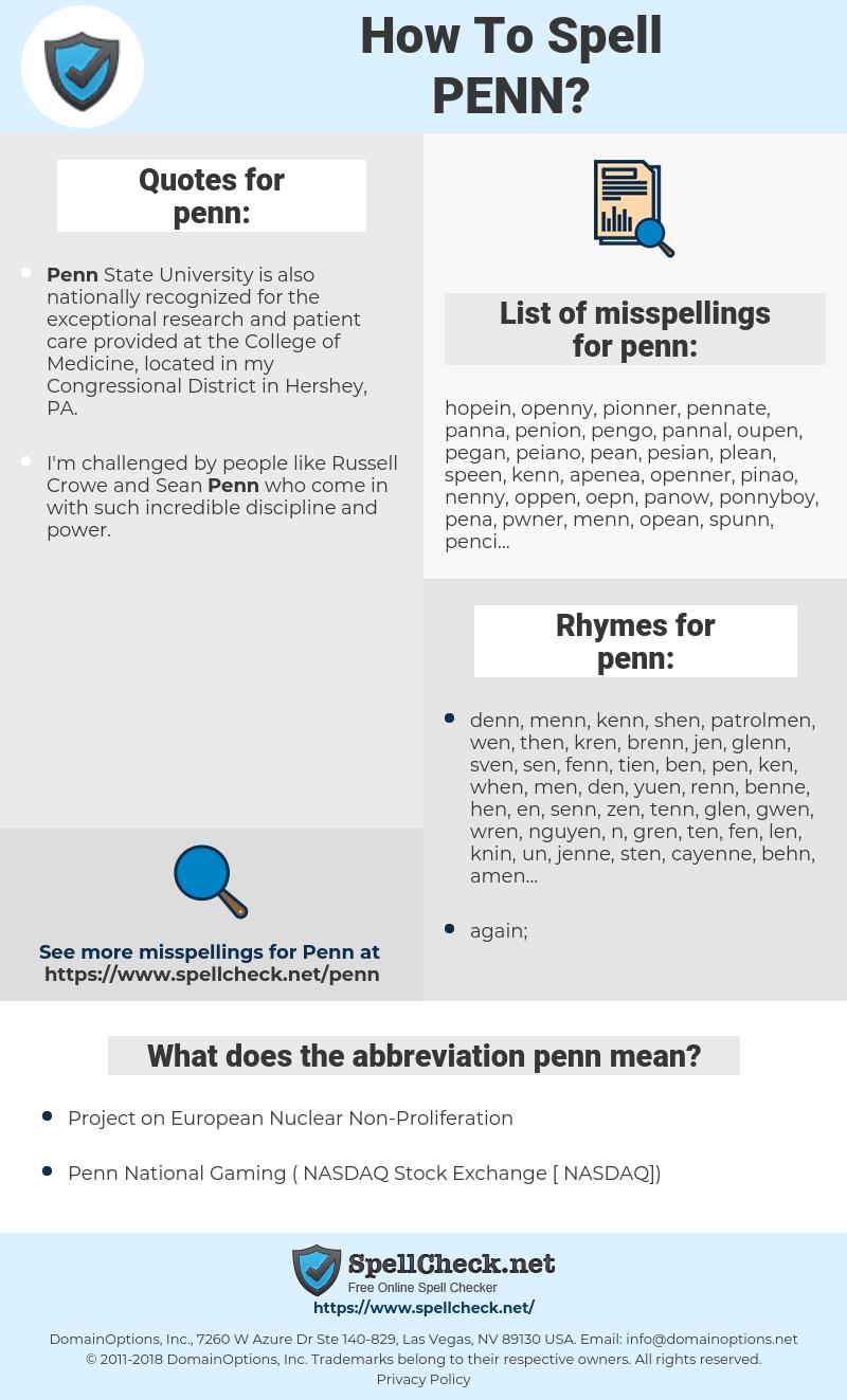 penn, spellcheck penn, how to spell penn, how do you spell penn, correct spelling for penn