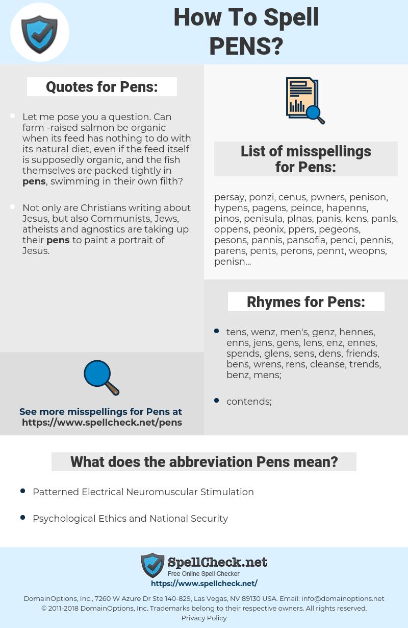 Pens, spellcheck Pens, how to spell Pens, how do you spell Pens, correct spelling for Pens