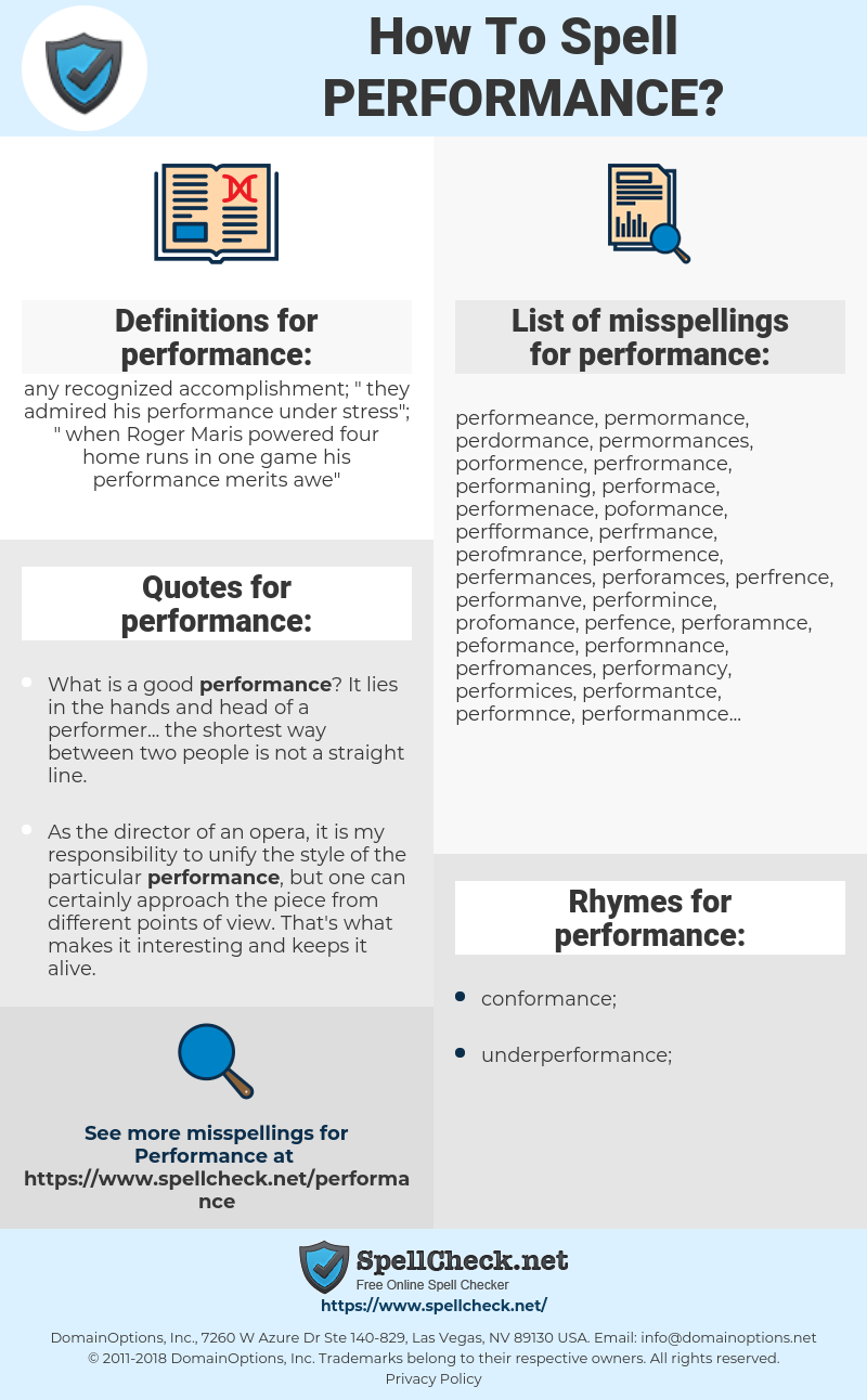 performance, spellcheck performance, how to spell performance, how do you spell performance, correct spelling for performance
