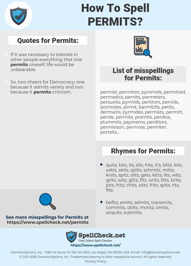 Permits, spellcheck Permits, how to spell Permits, how do you spell Permits, correct spelling for Permits