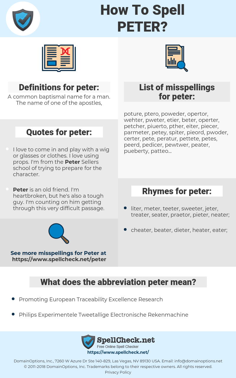 peter, spellcheck peter, how to spell peter, how do you spell peter, correct spelling for peter