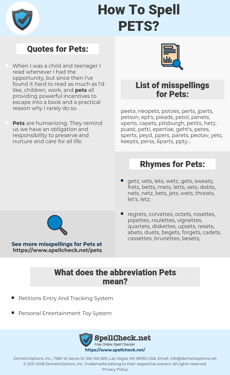 Pets, spellcheck Pets, how to spell Pets, how do you spell Pets, correct spelling for Pets