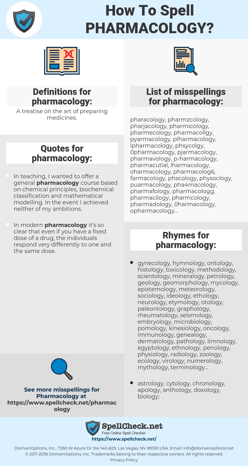 How To Spell Pharmacology (And How To Misspell It Too