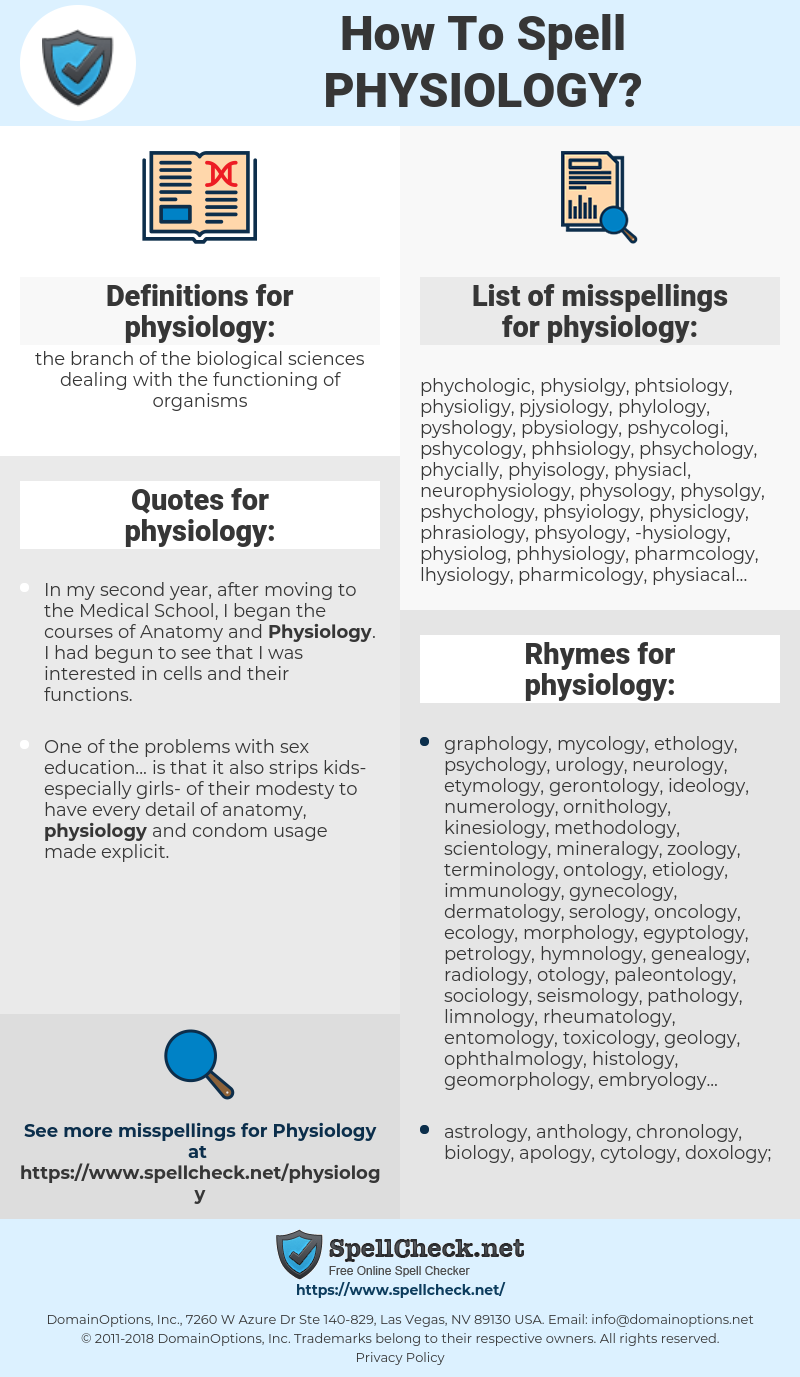 How To Spell Physiology (And How To Misspell It Too) | Spellcheck net