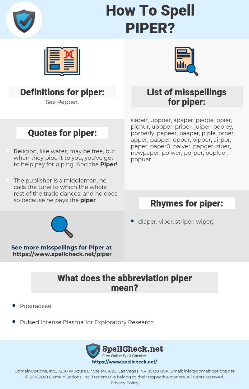 piper, spellcheck piper, how to spell piper, how do you spell piper, correct spelling for piper