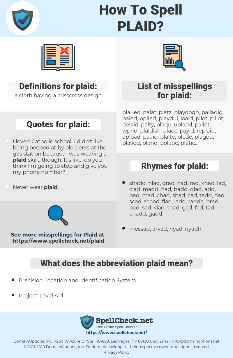 plaid, spellcheck plaid, how to spell plaid, how do you spell plaid, correct spelling for plaid