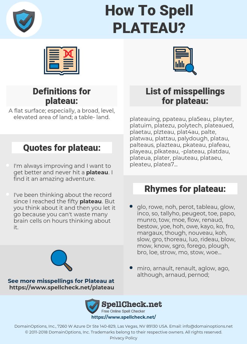 plateau, spellcheck plateau, how to spell plateau, how do you spell plateau, correct spelling for plateau