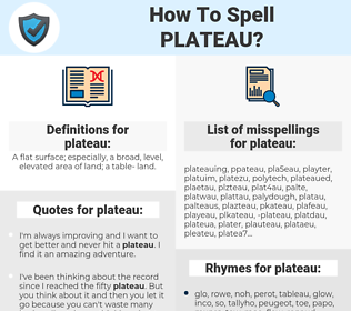 plateau, spellcheck plateau, how to spell plateau, how do you spell plateau, correct spelling for plateau