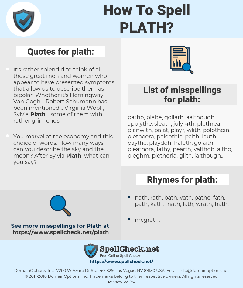 plath, spellcheck plath, how to spell plath, how do you spell plath, correct spelling for plath