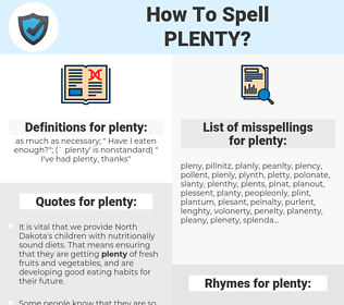 plenty, spellcheck plenty, how to spell plenty, how do you spell plenty, correct spelling for plenty