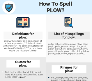 plow, spellcheck plow, how to spell plow, how do you spell plow, correct spelling for plow