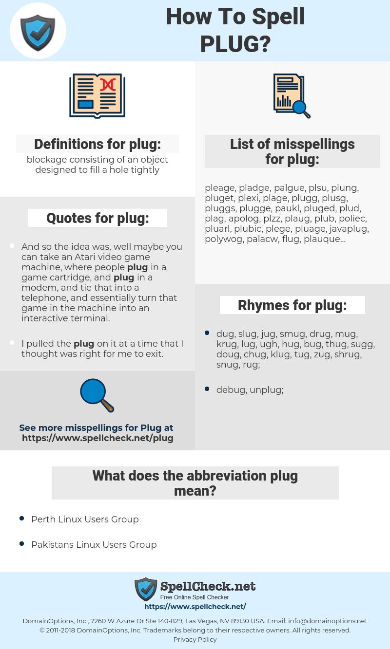 plug, spellcheck plug, how to spell plug, how do you spell plug, correct spelling for plug