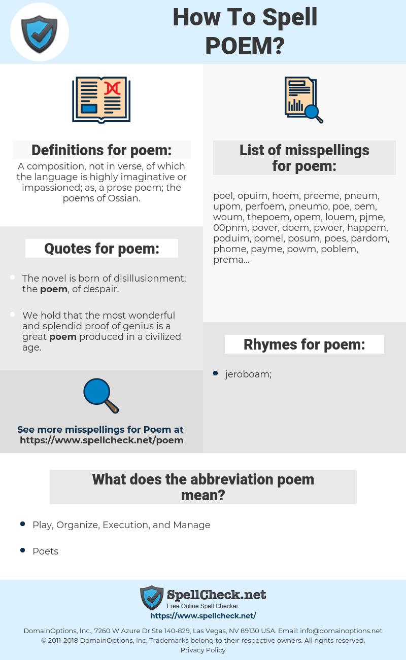 poem, spellcheck poem, how to spell poem, how do you spell poem, correct spelling for poem