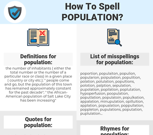population, spellcheck population, how to spell population, how do you spell population, correct spelling for population