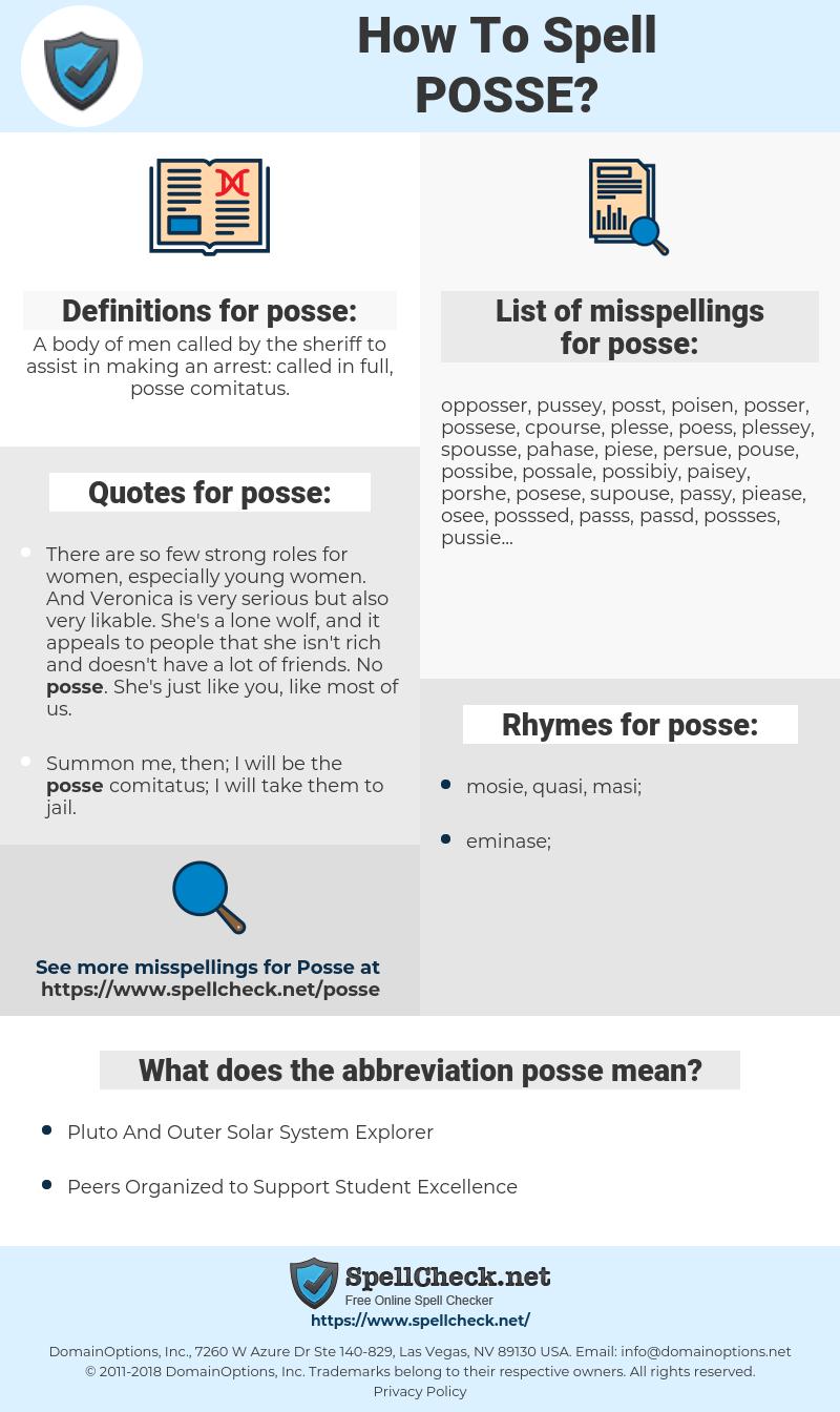 posse, spellcheck posse, how to spell posse, how do you spell posse, correct spelling for posse