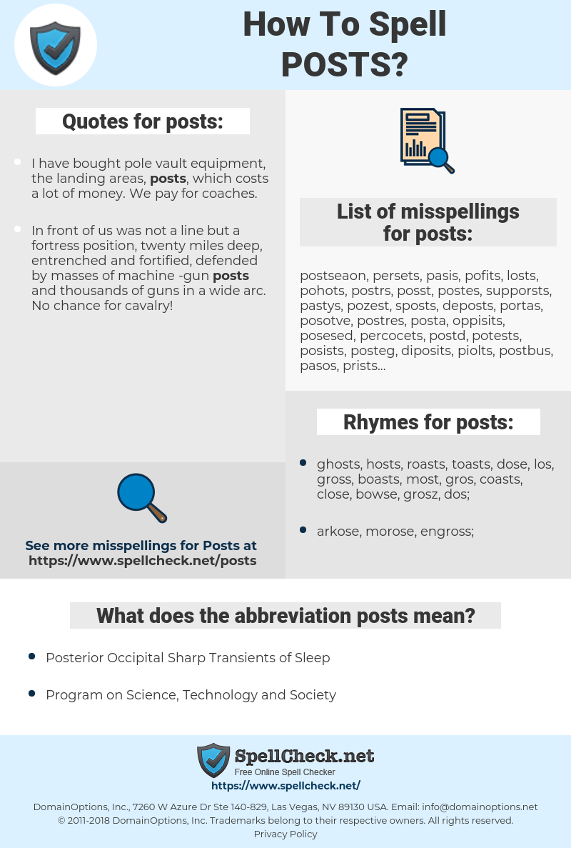 posts, spellcheck posts, how to spell posts, how do you spell posts, correct spelling for posts