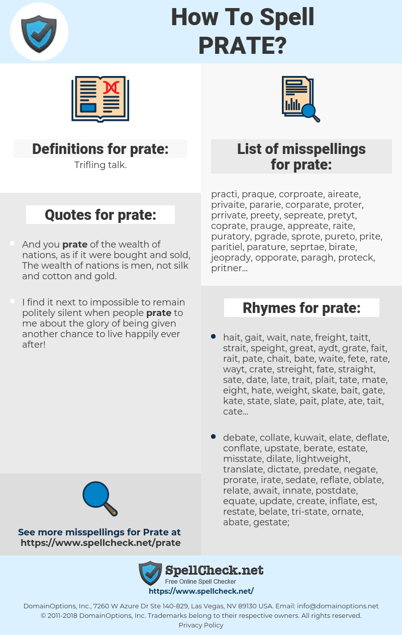 prate, spellcheck prate, how to spell prate, how do you spell prate, correct spelling for prate