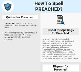 Preached, spellcheck Preached, how to spell Preached, how do you spell Preached, correct spelling for Preached