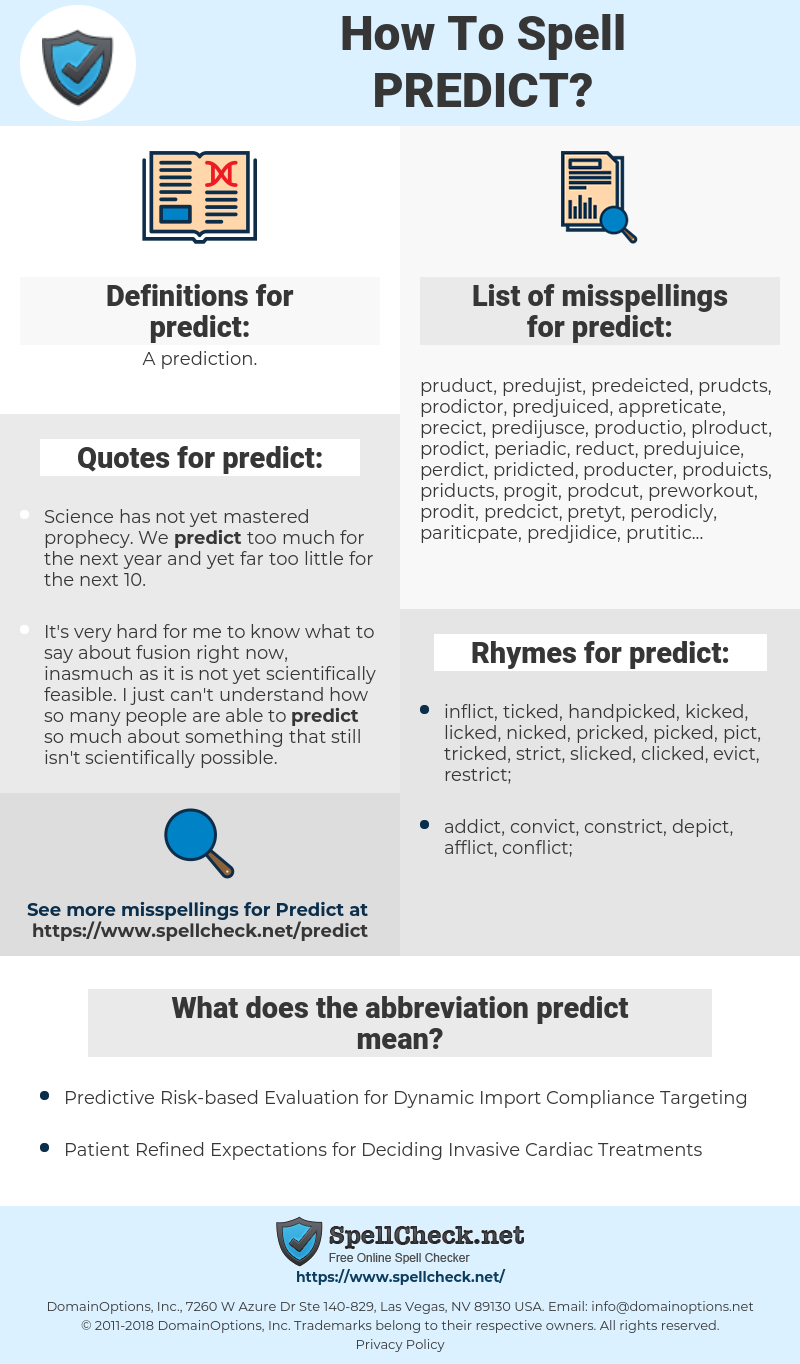 How To Spell Predict (And How To Misspell It Too