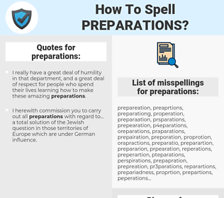 preparations, spellcheck preparations, how to spell preparations, how do you spell preparations, correct spelling for preparations
