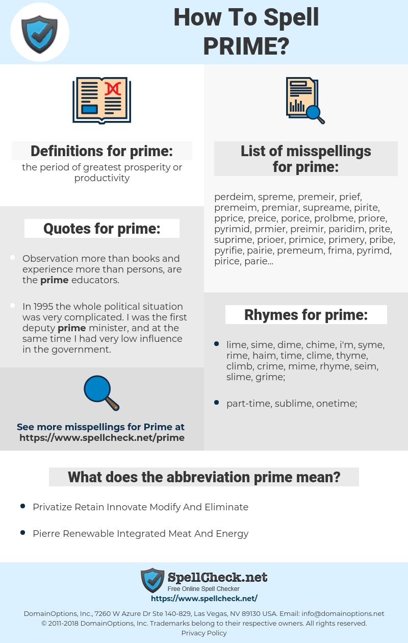 prime, spellcheck prime, how to spell prime, how do you spell prime, correct spelling for prime