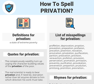 privation, spellcheck privation, how to spell privation, how do you spell privation, correct spelling for privation
