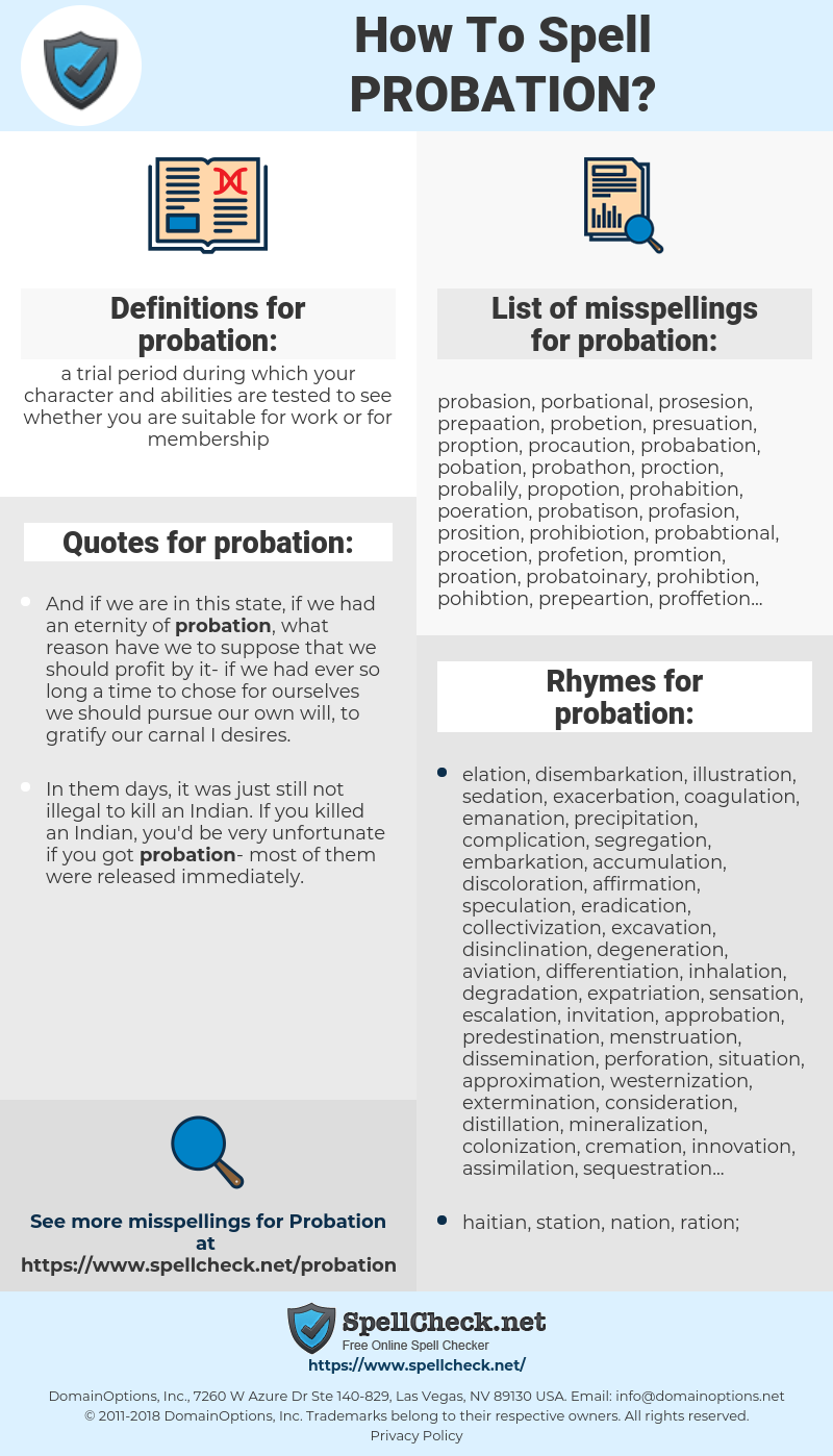 probation, spellcheck probation, how to spell probation, how do you spell probation, correct spelling for probation