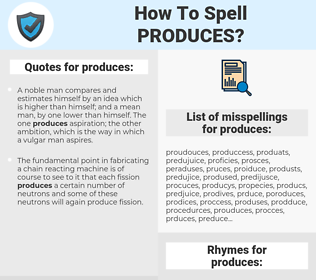 produces, spellcheck produces, how to spell produces, how do you spell produces, correct spelling for produces