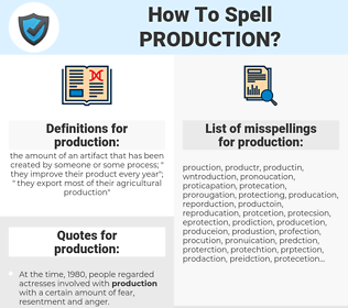production, spellcheck production, how to spell production, how do you spell production, correct spelling for production