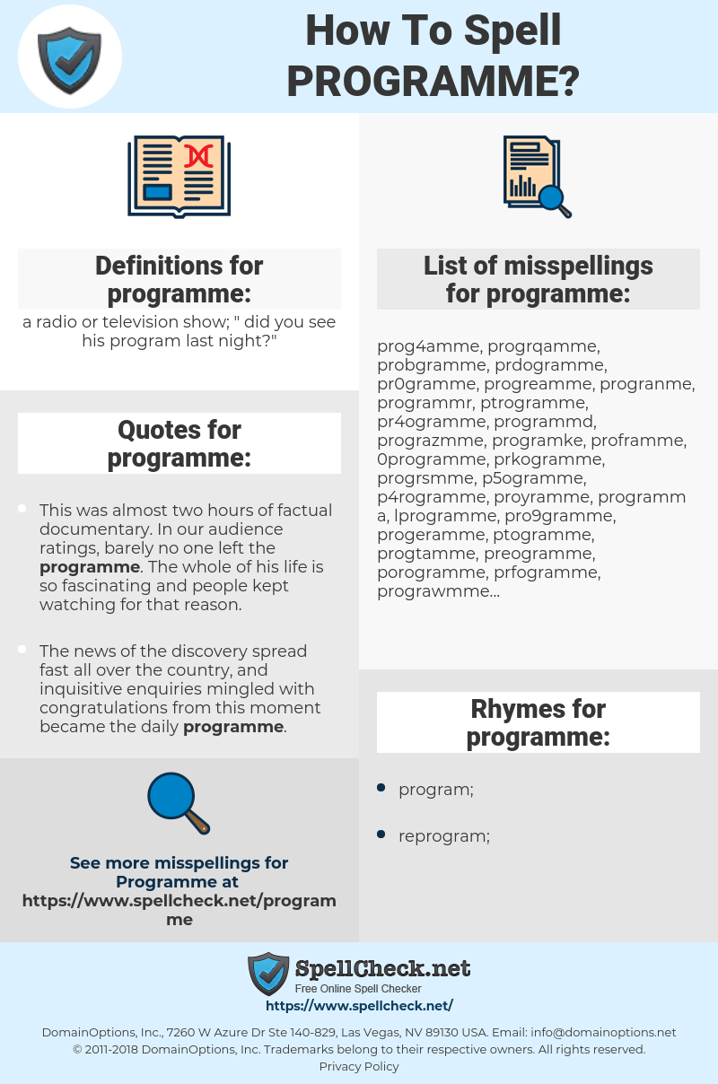 How To Spell Programme (And How To Misspell It Too ...