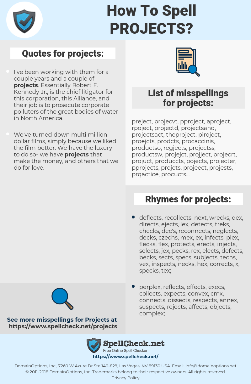 projects, spellcheck projects, how to spell projects, how do you spell projects, correct spelling for projects