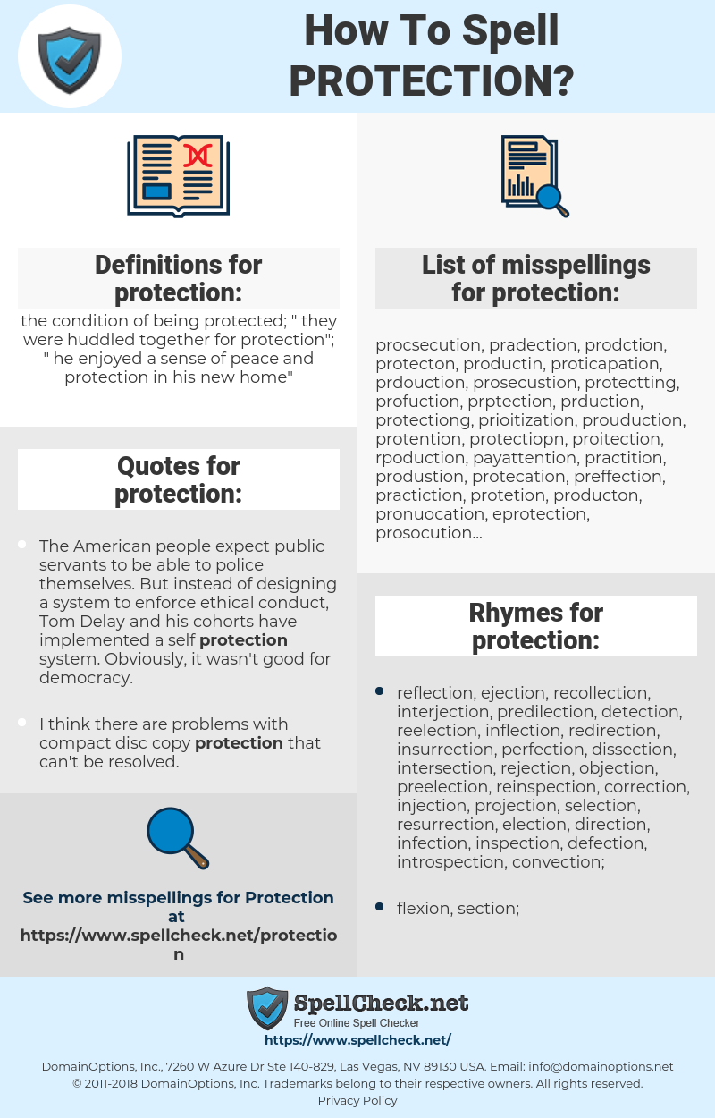 protection, spellcheck protection, how to spell protection, how do you spell protection, correct spelling for protection