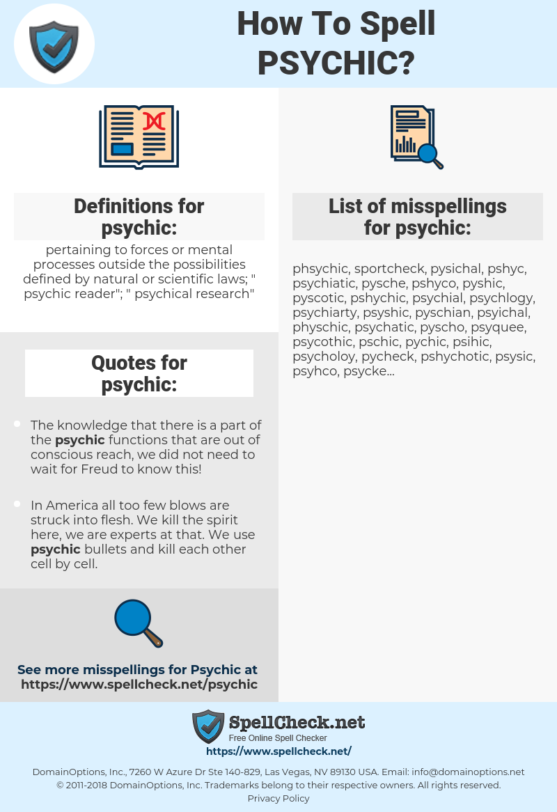 psychic, spellcheck psychic, how to spell psychic, how do you spell psychic, correct spelling for psychic