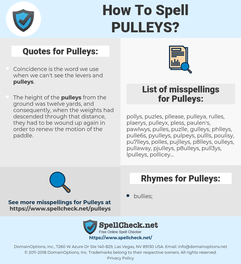 Pulleys, spellcheck Pulleys, how to spell Pulleys, how do you spell Pulleys, correct spelling for Pulleys