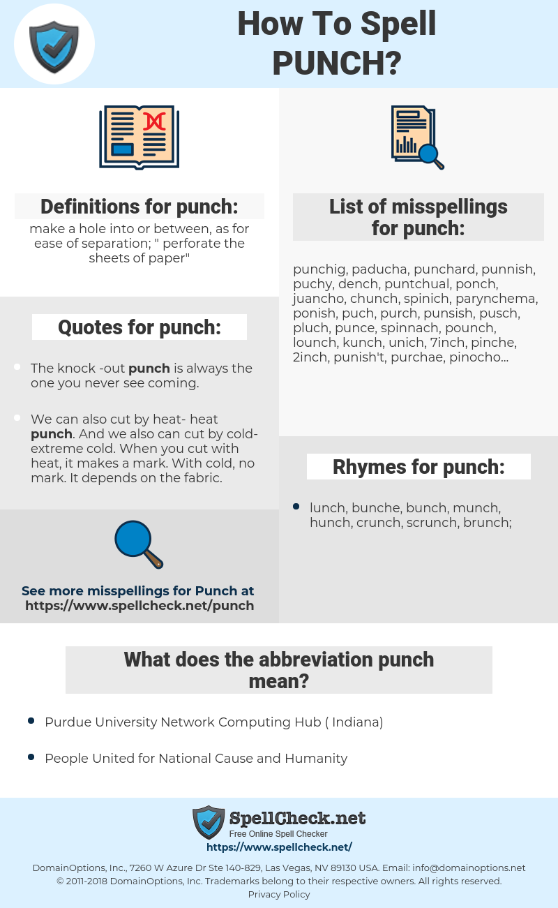 punch, spellcheck punch, how to spell punch, how do you spell punch, correct spelling for punch
