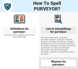 purveyor, spellcheck purveyor, how to spell purveyor, how do you spell purveyor, correct spelling for purveyor