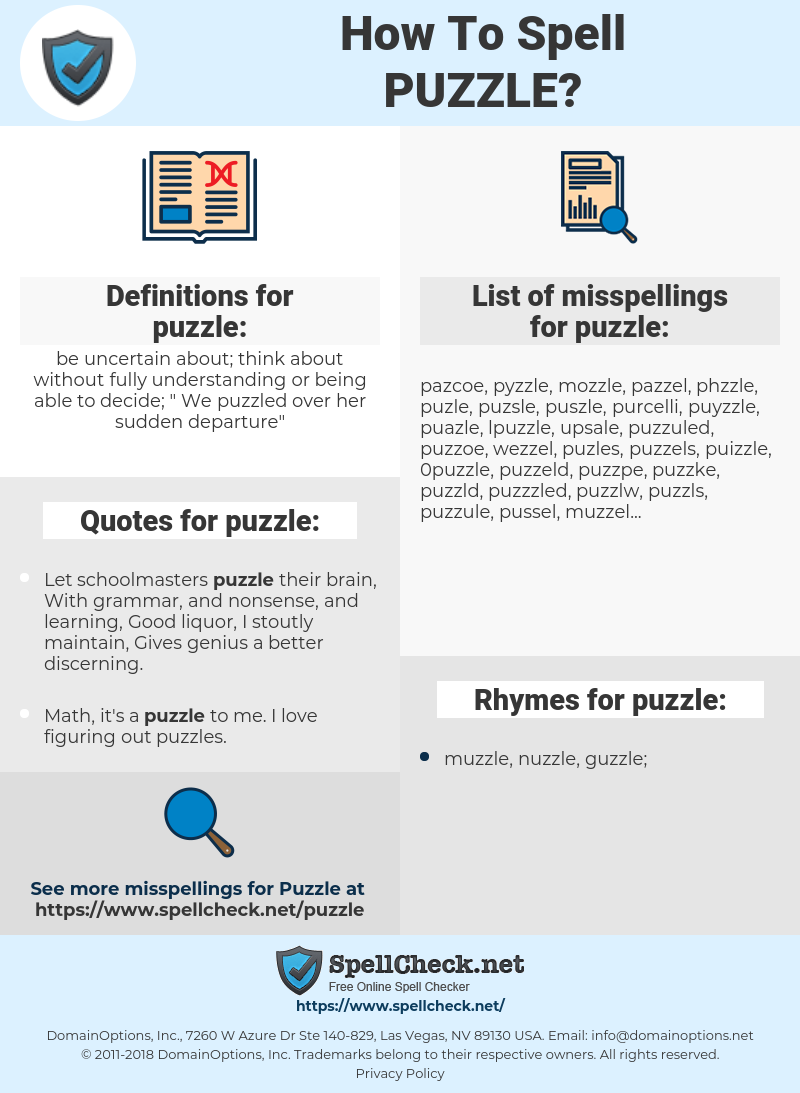 puzzle, spellcheck puzzle, how to spell puzzle, how do you spell puzzle, correct spelling for puzzle