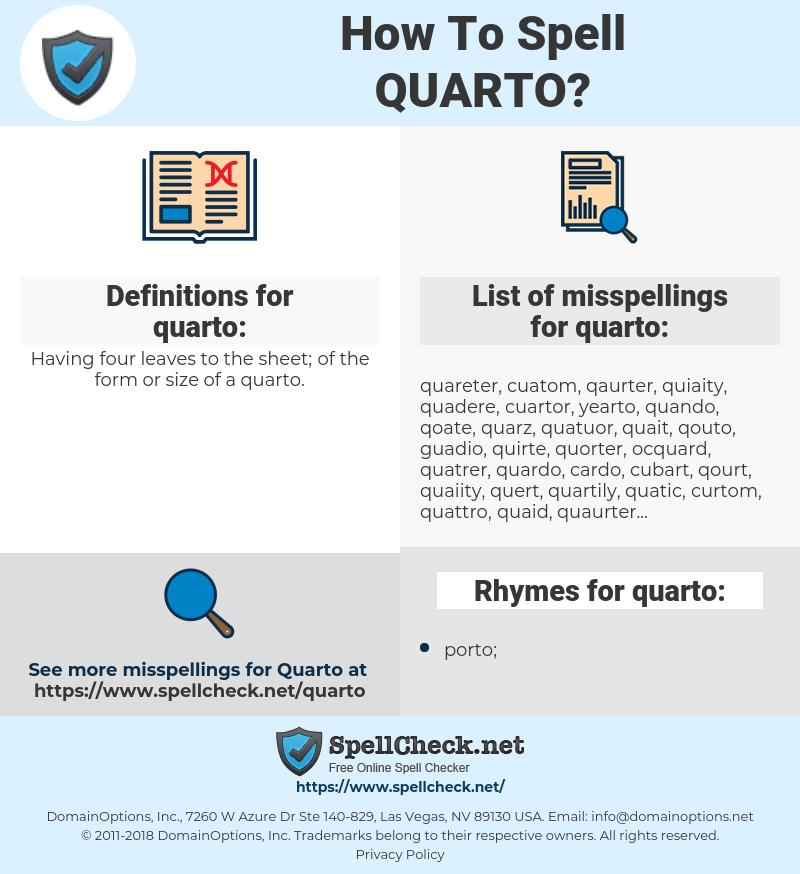 quarto, spellcheck quarto, how to spell quarto, how do you spell quarto, correct spelling for quarto