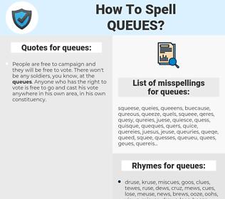 queues, spellcheck queues, how to spell queues, how do you spell queues, correct spelling for queues