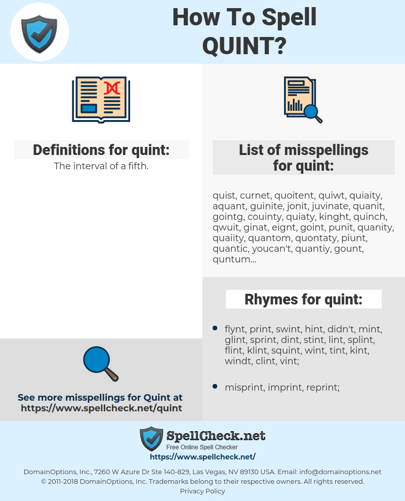 quint, spellcheck quint, how to spell quint, how do you spell quint, correct spelling for quint
