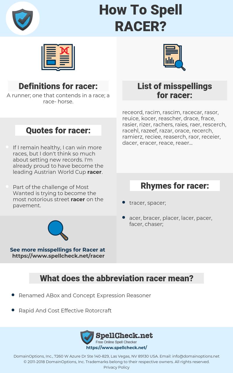 racer, spellcheck racer, how to spell racer, how do you spell racer, correct spelling for racer