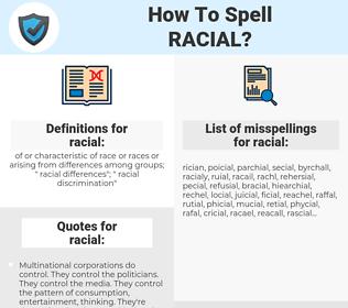 racial, spellcheck racial, how to spell racial, how do you spell racial, correct spelling for racial