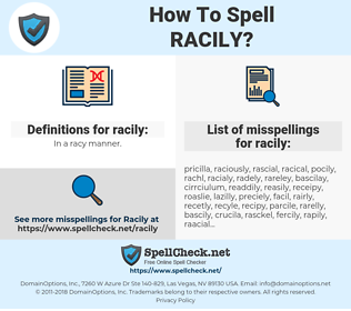 racily, spellcheck racily, how to spell racily, how do you spell racily, correct spelling for racily