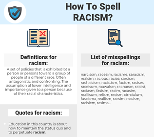 racism, spellcheck racism, how to spell racism, how do you spell racism, correct spelling for racism