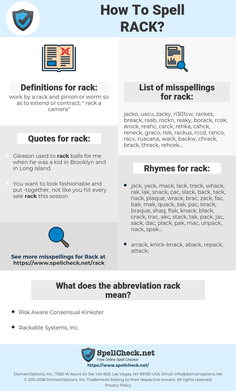 rack, spellcheck rack, how to spell rack, how do you spell rack, correct spelling for rack
