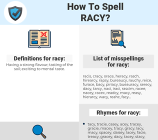 racy, spellcheck racy, how to spell racy, how do you spell racy, correct spelling for racy