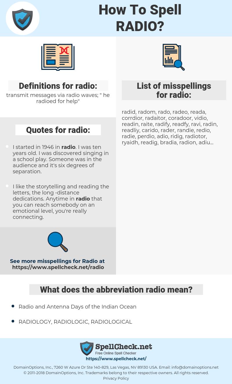 radio, spellcheck radio, how to spell radio, how do you spell radio, correct spelling for radio