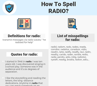 radio, spellcheck radio, how to spell radio, how do you spell radio, correct spelling for radio