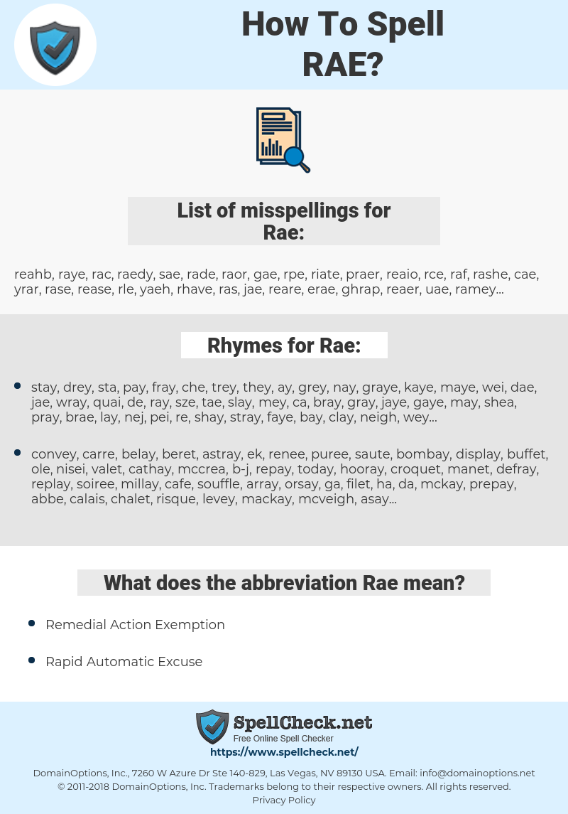 Rae, spellcheck Rae, how to spell Rae, how do you spell Rae, correct spelling for Rae